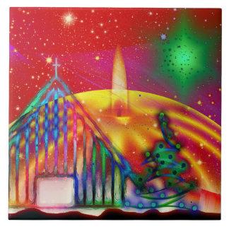 Colorful artistic Christmas illustration Ceramic Tile
