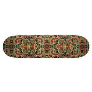 Colorful artistic drawn paisley pattern skateboard