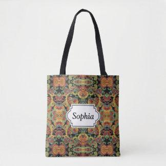Colorful artistic drawn paisley pattern tote bag