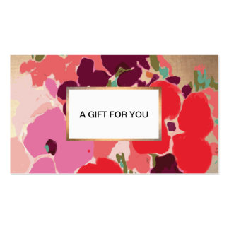 Colorful Artistic Hand Drawn Floral Gold Gift Card