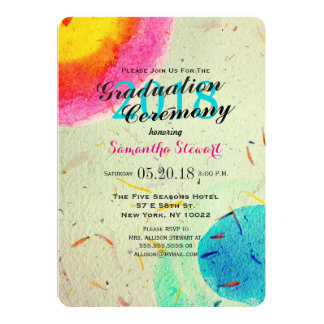 Colorful Artistic Watercolor Painted Daubs 5x7 Paper Invitation Card