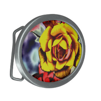 Colorful Artistic Yellow Rose Oval Belt Buckle