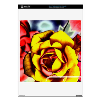 Colorful Artistic Yellow Rose PS3 Slim Console Decals