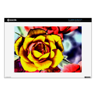 """Colorful Artistic Yellow Rose Decals For 13"""" Laptops"""