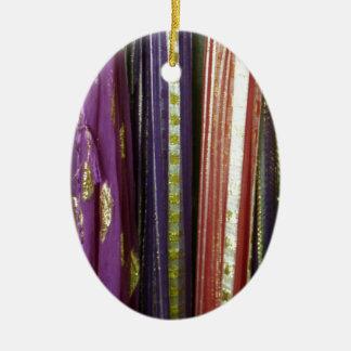 Colorful Asian Scarves Ceramic Ornament