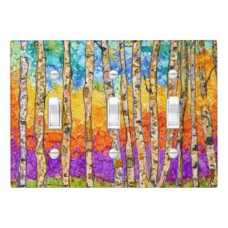 Colorful Aspen Trees Triple Light Switch Cover