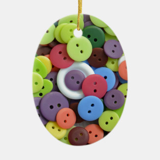 Colorful assorted buttons ceramic ornament