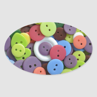 Colorful assorted buttons oval sticker