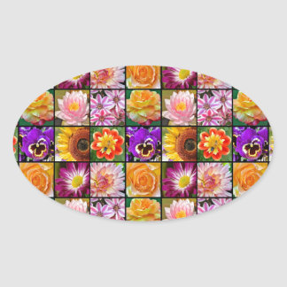 Colorful assorted flower collage print oval sticker