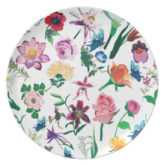 Colorful Assorted Flowers Illustration Pattern Melamine Plate