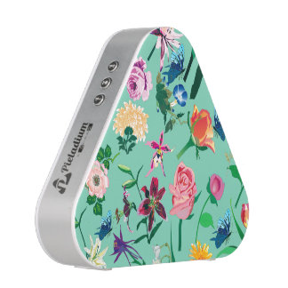 Colorful Assorted Flowers Mint-green Background Speaker