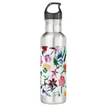 Colorful Assorted Flowers Pattern Water Bottle