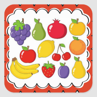 Colorful Assorted Fruit Square Sticker