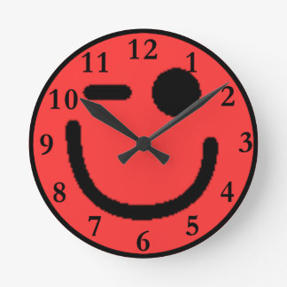 Colorful Assorted Smileys(See Description) Round Clock