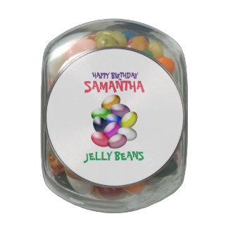 Colorful Assortment Jelly Beans Candy Glass Candy Jars