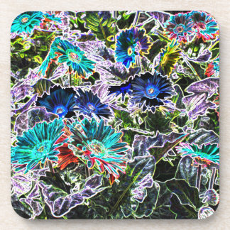 Colorful Asters Flowers - Glowing Edges Filter Coaster