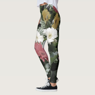 Colorful Asters Flowers with Muted Colors Leggings