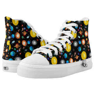Colorful Astronomy Space High Top Sneakers Printed Shoes