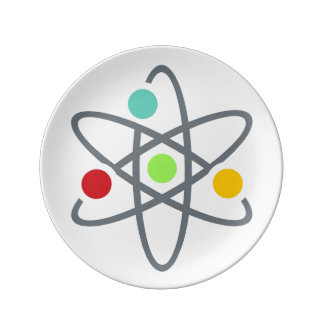 Colorful Atom Scientific White Dining Plate Porcelain Plates