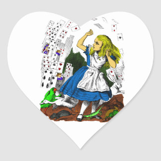 Colorful Attack of the Cards Alice in Wonderland Heart Sticker
