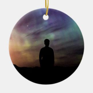 Colorful Aurora Borealis Person Silhouette Ceramic Ornament