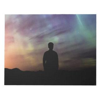 Colorful Aurora Borealis Person Silhouette Notepad