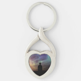 Colorful Aurora Borealis Person Silhouette Silver-Colored Heart-Shaped Metal Keychain