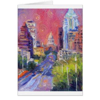 Colorful Austin Downtown Congress Avenue Art Card