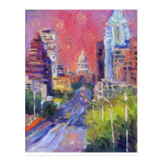 Colorful Austin Downtown Congress Avenue Art Postcard
