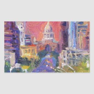 Colorful Austin Downtown Congress Avenue Art Rectangular Sticker