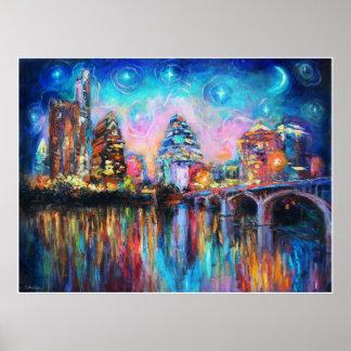 Colorful Austin Skyline Poster Svetlana Novikova