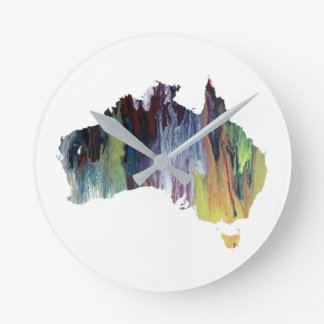 Colorful australia silhouette round clock