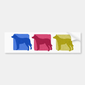 Colorful Australian Cattle Dog Silhouettes Bumper Sticker