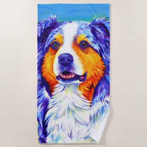 Colorful Australian Shepherd Dog Beach Towel