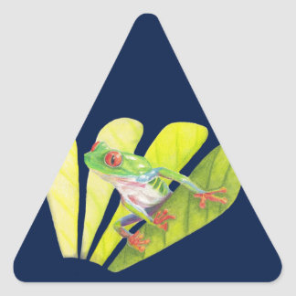 Colorful Australian Tree Frog Triangle Sticker