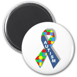 Colorful Autism Awareness Ribbon 2 Inch Round Magnet