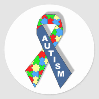 Colorful Autism Awareness Ribbon Classic Round Sticker
