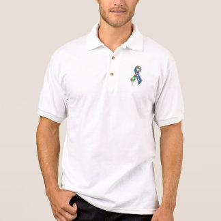 Colorful Autism Awareness Ribbon Polo T-shirt