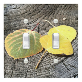 Colorful Autumn Aspen Leaves Photograph Light Switch Cover