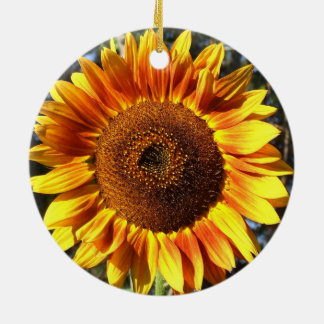 Colorful Autumn Beauty Sunflower in the Round Christmas Tree Ornaments
