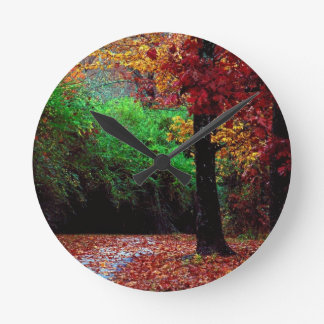 Colorful Autumn Day Round Clock