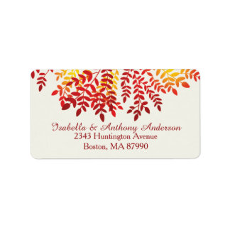 Colorful Autumn Fall Leaves Return Address Label