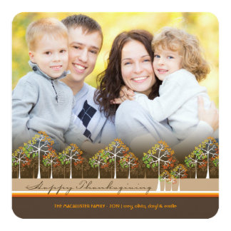 "Colorful Autumn Fall Trees Thanksgiving Photo Card 5.25"" Square Invitation Card"