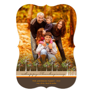 "Colorful Autumn Fall Trees Thanksgiving Photo Card 5"" X 7"" Invitation Card"
