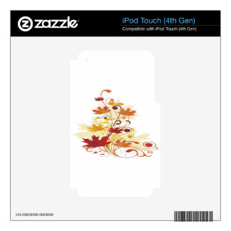 Colorful autumn floral design skin for iPod touch 4G