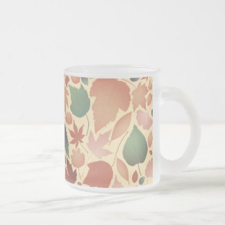 Colorful autumn leave pattern illustration frosted glass coffee mug