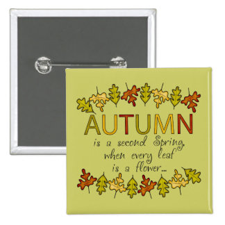 Colorful Autumn Leaves And Phrase Button