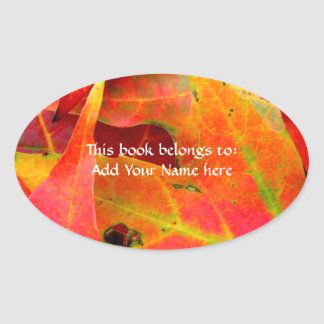 Colorful Autumn Leaves Close-up Oval Sticker