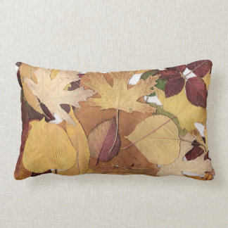 Colorful Autumn Leaves Collage Lumbar Pillow