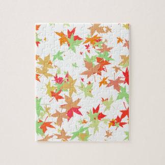 Colorful autumn leaves design puzzle